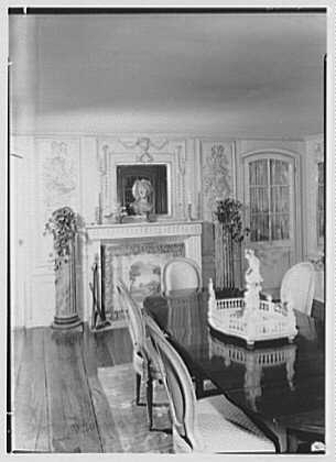 Mrs. Charles Henry Fallasse, Andely, residence in Cross River, New York. Dining room, to fireplace