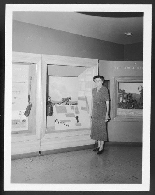 Portrait of Maggie Oblinger Sandon in the exhibition gallery at the Nebraska State Historical Society, Lincoln, Nebraska.
