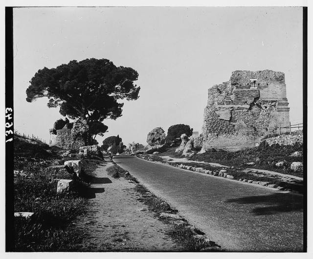 Rome. Surfaced Appian Way in Rome, modern highway