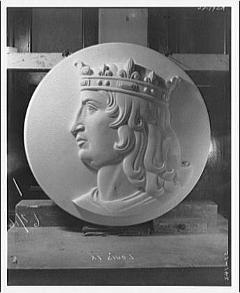 Statues and sculpture over the door of the gallery of House chamber, U.S. Capitol. Louis the Ninth medallion I