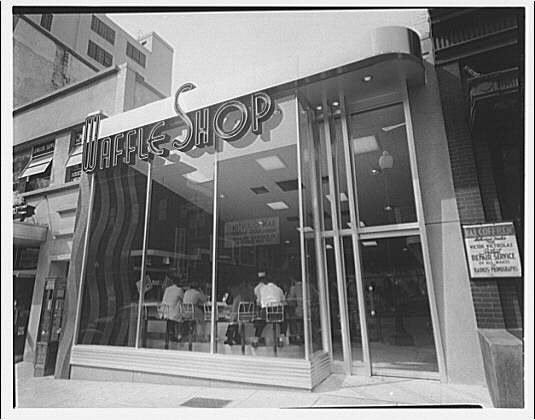 Waffle Shop on 10th Street. Exterior of Waffle Shop from side angle, day