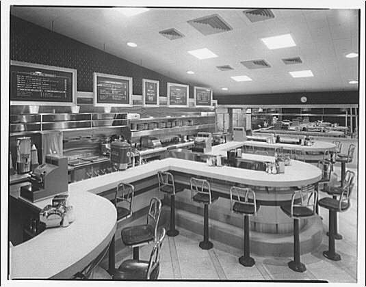 Waffle Shop on 10th Street. Interior of Waffle Shop to counters and menus I