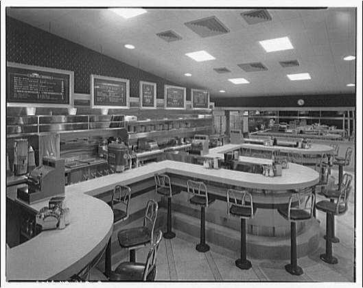 Waffle Shop on 10th Street. Interior of Waffle Shop to counters and menus II