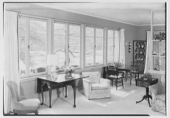 William J. Schultze, residence at 32 Parsonage Hill Rd., Short Hills, New Jersey. Living room, to window