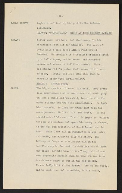 Alan Lomax Collection, Manuscripts, BBC, 1951, The Art of the Negro, program 1
