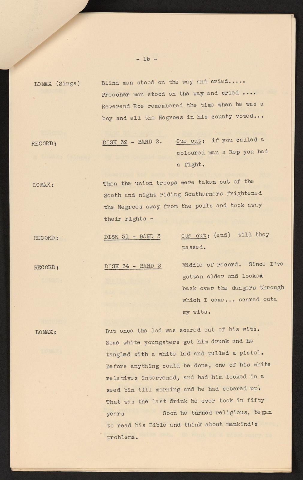 Alan Lomax Collection, Manuscripts, BBC, 1951, The Art of the Negro, program 2