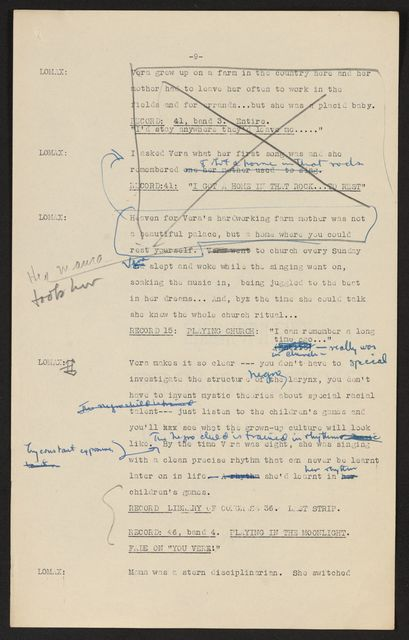 Alan Lomax Collection, Manuscripts, BBC, 1951, The Art of the Negro, program 2