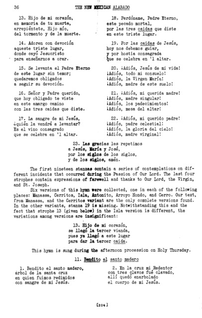 Bendito el santo madero (Blessed the Holy Beam) [textual transcription]
