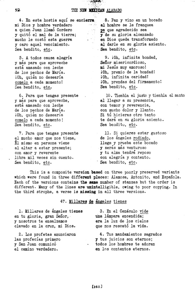 Cantemos con dulce acento (Let Us Sing with Sweet Accent) [textual transcription]