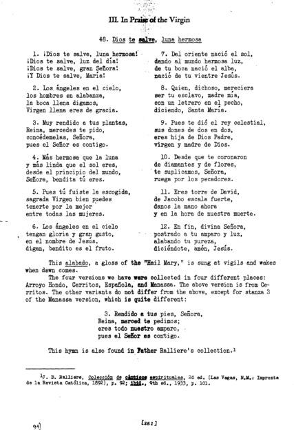 Dios te salve, luna hermosa (God Save Thee, Beautiful Moon) [textual transcription]