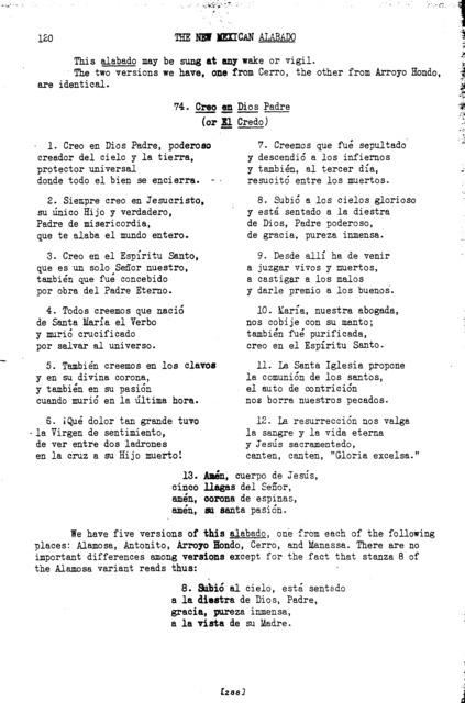 El credo (The Creed) [textual transcription]