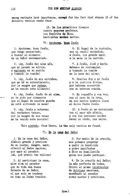 En la cena del Señor (At the Supper of the Lord) [textual transcription]