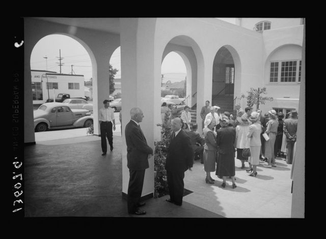 First Congregational Church in Glendale (Central & Wilson Ave's), May 1951. [People on patio]