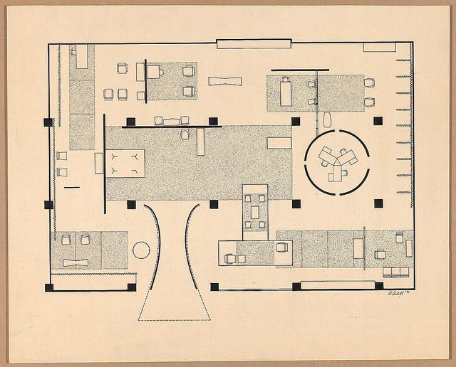 [Good Design Exhibition of 1952. Floor plan with furnishings] / P. Rudolph '51.