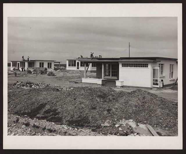 [Modern homes being constructed in new communities and housing developments for residents of towns and villages that will be inundated by the Rio Grande Reservoir as a result of the joint U.S.-Mexico Falcon Dam construction project on the Rio Grande River]