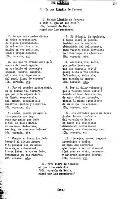 Ya que llenáis de favores (Since You Fill with Favors) [textual transcription]