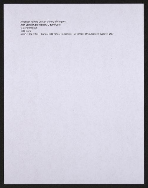 Alan Lomax Collection, Manuscripts, Spain, 1952-1953