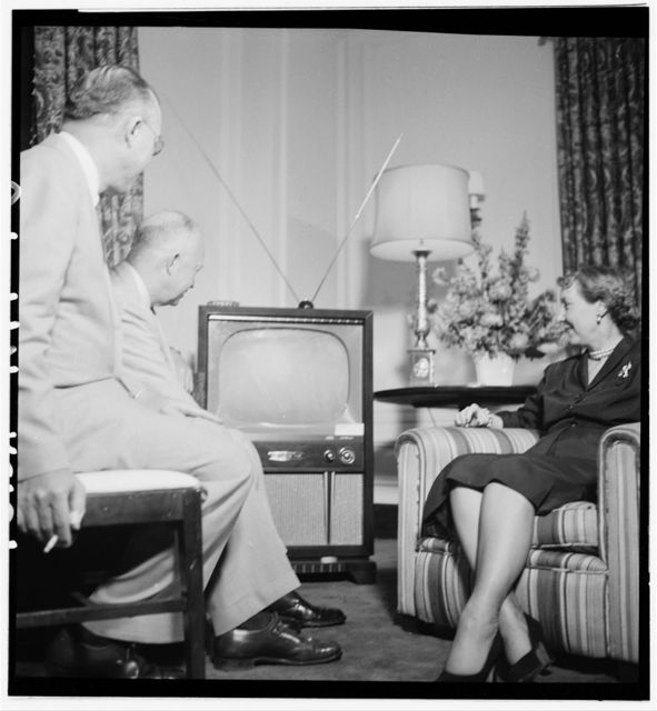 [Dwight and Mamie Eisenhower watching a television during the Republican National Convention, Chicago, Illinois] / [TOH].