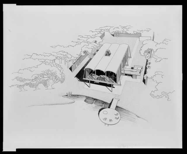 [Hook guest house, Siesta Key, Florida. Bird's-eye view. Rendering] / Rudolph '52.