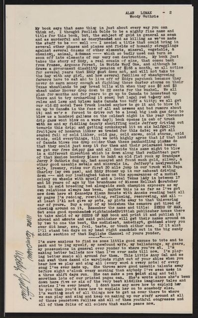 Alan Lomax Collection, Manuscripts, Guthrie, Woody