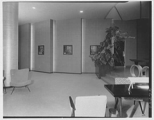 Algiers Hotel, 26th St. and Collins Ave., Miami Beach, Florida. Fish bowls in hall