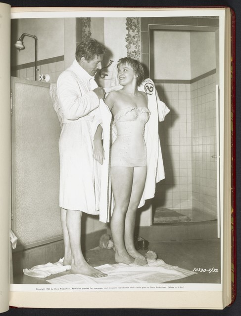 "[ Danny Kaye and Mai Zetterling in shower room - scene from ""Knock on Wood""]"