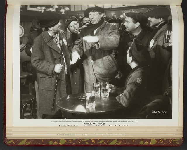"[ Danny Kaye in tavern with men - scene from ""Knock on Wood""]"