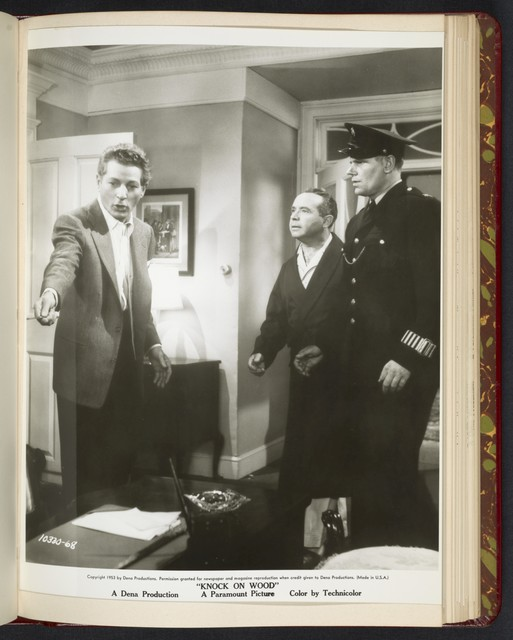 "[ Danny Kaye with policeman and male character - scene from ""Knock on Wood""]"