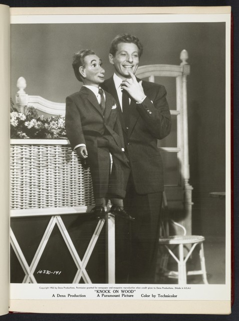 "[ Danny Kaye with ventriloquist doll - scene from ""Knock on Wood""]"