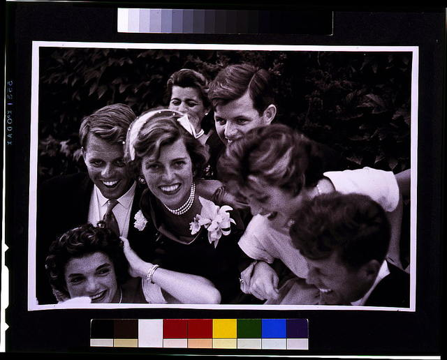 [Kennedy wedding--close-up portrait of Kennedy family with couple]