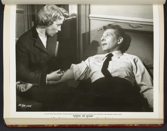 "[ Mai Zetterling gives Danny Kaye an injection - scene from ""Knock on Wood""]"