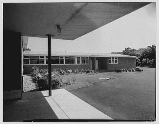 Morgan High School, Clinton, Connecticut. Exterior view to kitchen