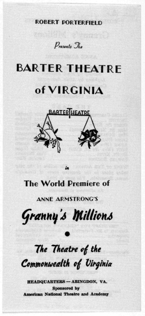 A collection of 12 programs of the Barter Theatre in Abingdon, Virginia. 1954.