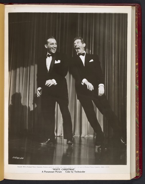 "[ Bing Crosby and Danny Kaye in tuxedos onstage - scene from ""White Christmas""]"