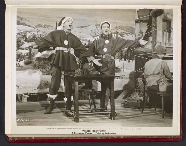 "[ Danny Kaye and Bing Crosby singing for troops - scene from ""White Christmas""]"