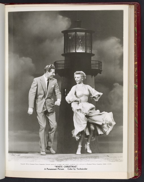 "[ Danny Kaye and Vera-Ellen dancing next to a lighthouse prop - scene from ""White Christmas""]"