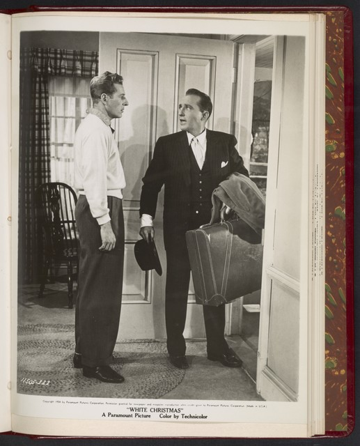 "[ Danny Kaye at door and Bing Crosby with suitcase - scene from ""White Christmas""]"
