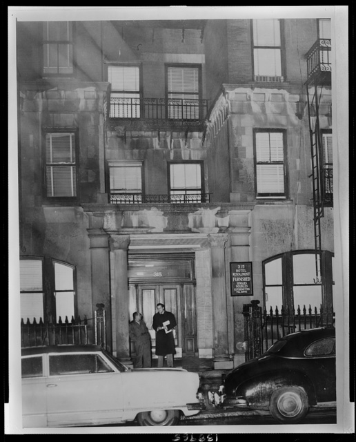 Hotel Royalmont 315 W. 94th St. Where Lolita Lebrón one [of] three Puerto Ricans in the 5 Congressmen shooting in Washington lived alone - Bob Nossiter story / World Telegram & Sun photo by Fred Palumbo.