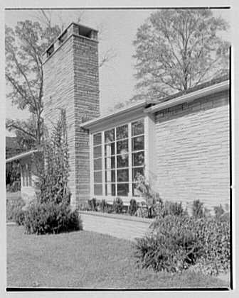 Joseph Lieberman, residence on Parsonage Hill Rd., Short Hills, New Jersey. Detail II, entrance facade