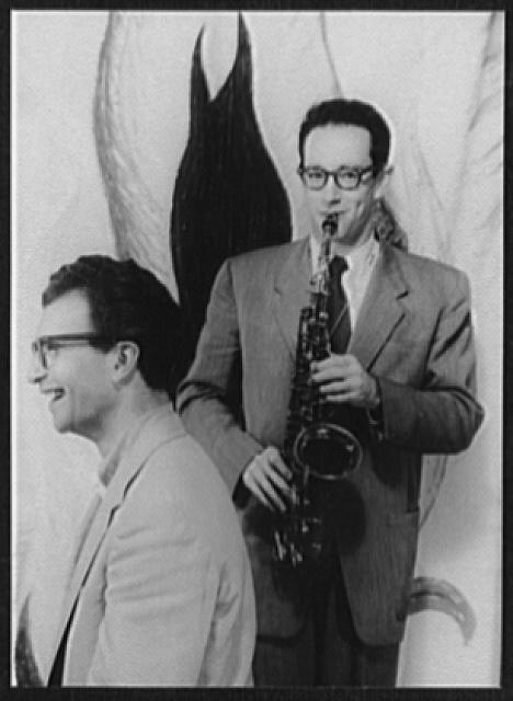 [Portrait of Dave Brubeck and Paul Desmond playing saxophone]