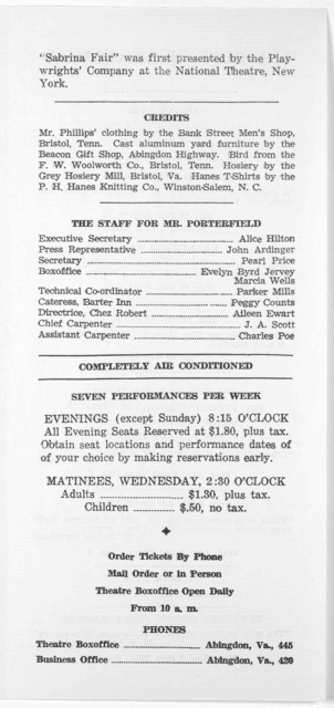 A collection of fourteen theatre programs for the 1955 season of the theatre; together with a calendar of the Virginia Highlands Festival, August 1-15, 1955, and an offprint from the University of Virginia News Letter of April 15, 1955, concerni