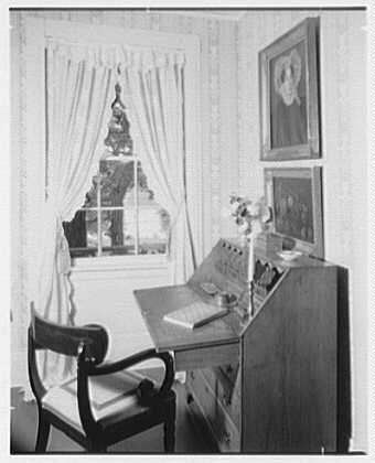 Elinor Merrell, residence in Cross River, New York. View through window