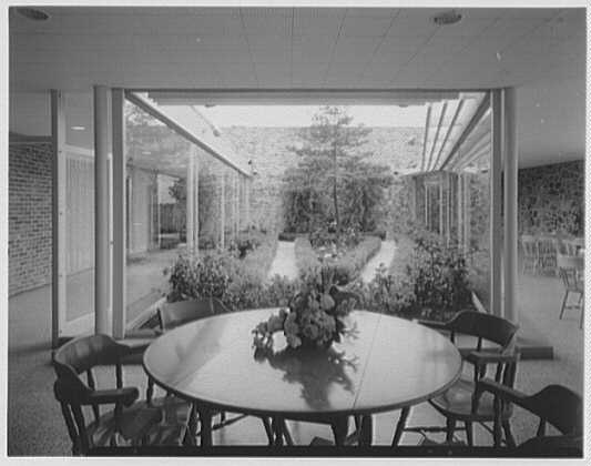 Fairchild Aircraft, Hagerstown, Maryland. Cafeteria, to garden