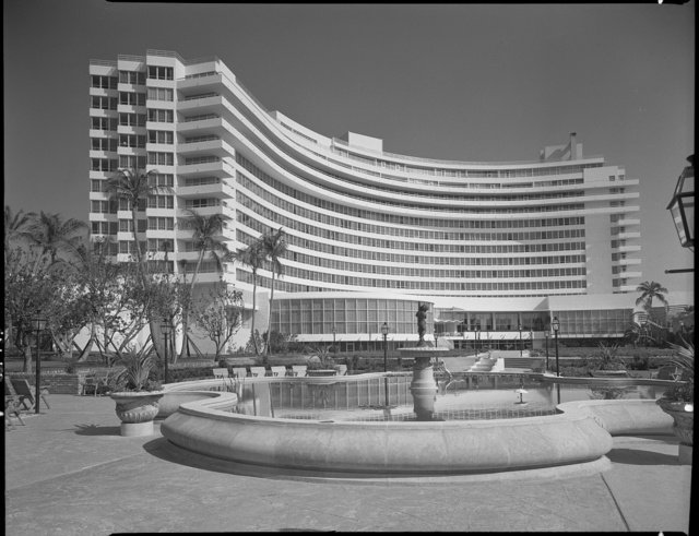 Fontainebleau Hotel, Miami Beach, Florida. Over pool to hotel