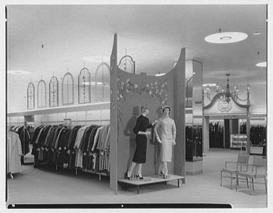 Gimbel Brothers, business in Cross County Center, Yonkers, New York. Divider between maternity and coats and suits