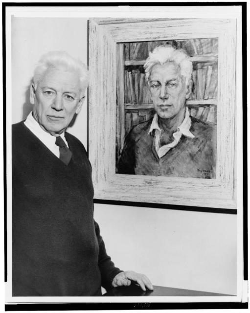 [Max Eastman, half-length portrait, facing front, standing by a portrait of himself painted by his wife] / World Telegram & Sun photo by Phil Stanziola.