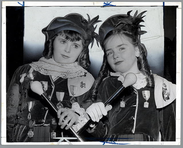 Two of the lassies from Bob Barrett's Pipers and Drummers--Josephine Barrett age 10 [and] Madeline Ryan age 10 / World Telegram photo by Walter Albertin.