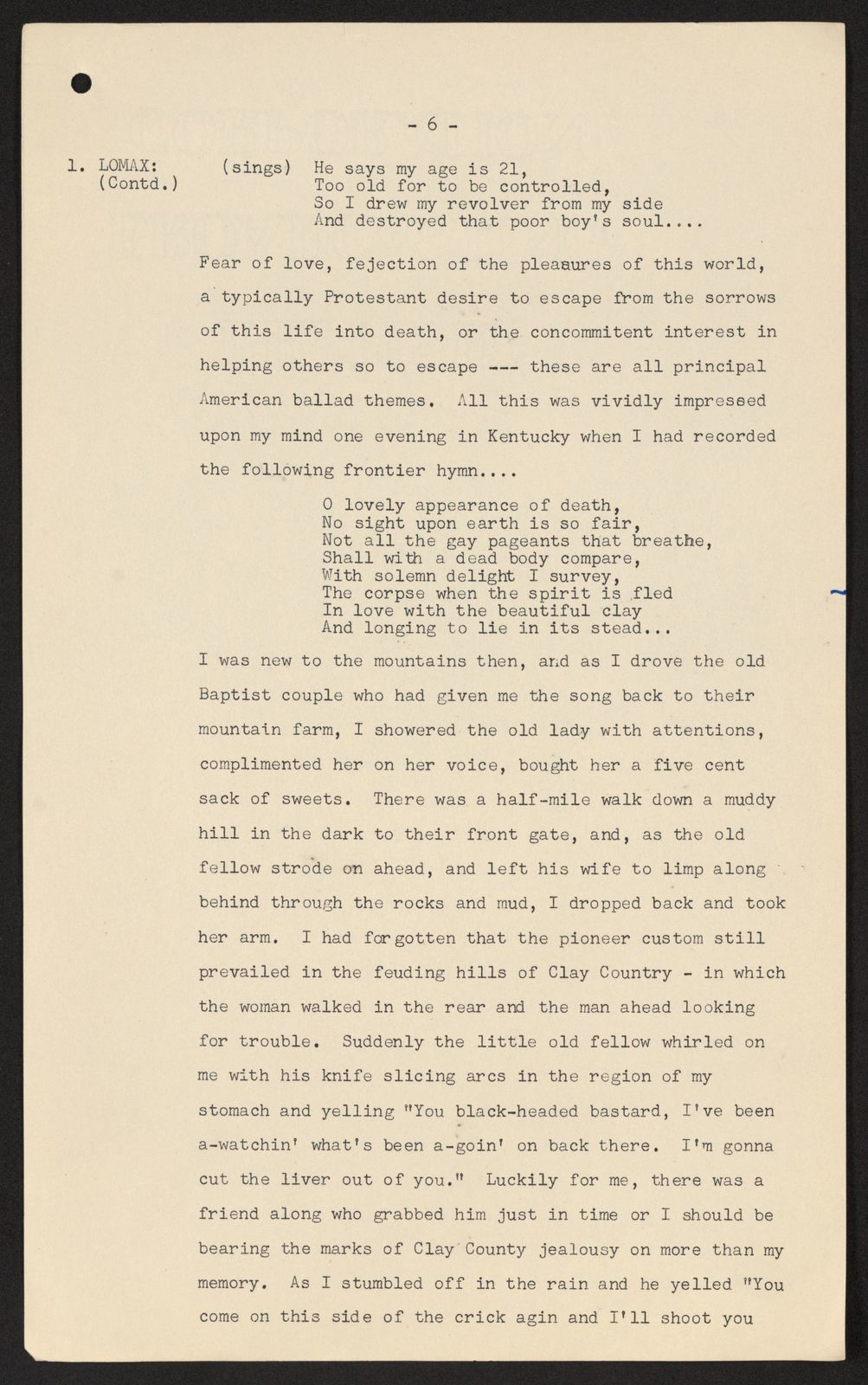 Alan Lomax Collection, Manuscripts, BBC, 1956, Reminiscences of a Folk Song Collector, program 2