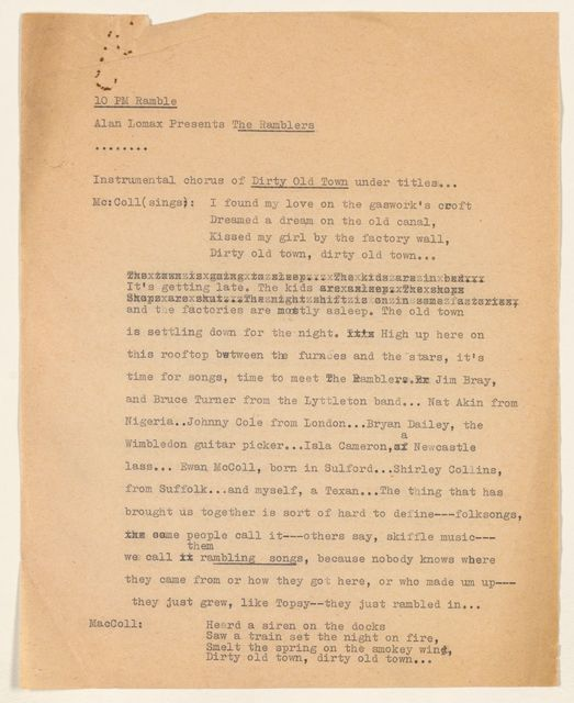 Alan Lomax Collection, Manuscripts, The Ramblers, 1956