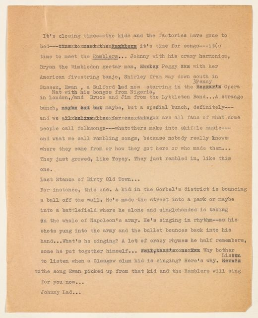 Alan Lomax Collection, Manuscripts, The Ramblers, 1956